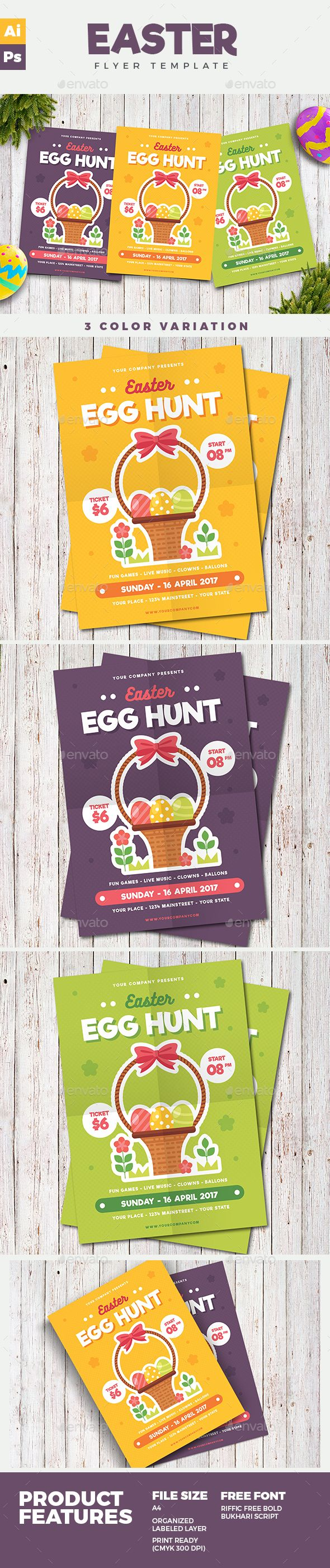 Easter Flyer Template PSD, AI Illustrator