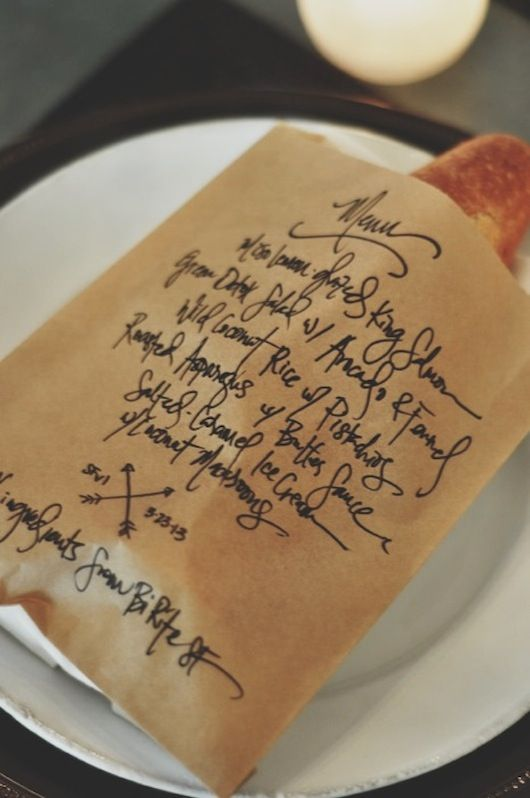 Oh so clever: A dinner party menu written on a paper bag with a baguette in it. From Sacramento Street.