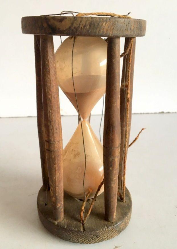 1890's Vintage Wooden Original Jain Pooja Hourglass Sand Timer Stand Clock Timer