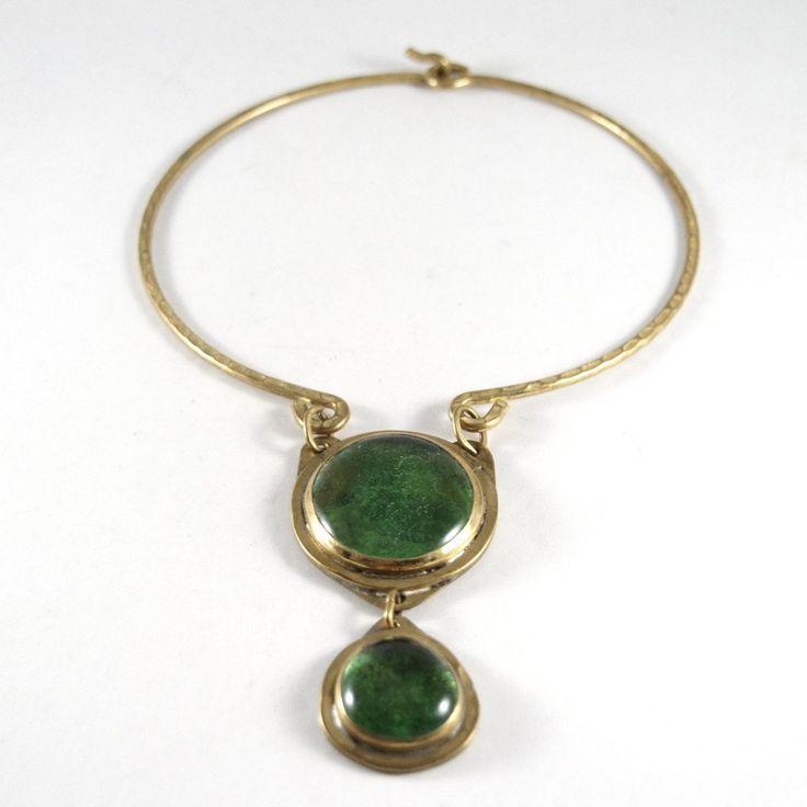 Rare Rafael Canada Necklace - Choker Double Stone - Brass