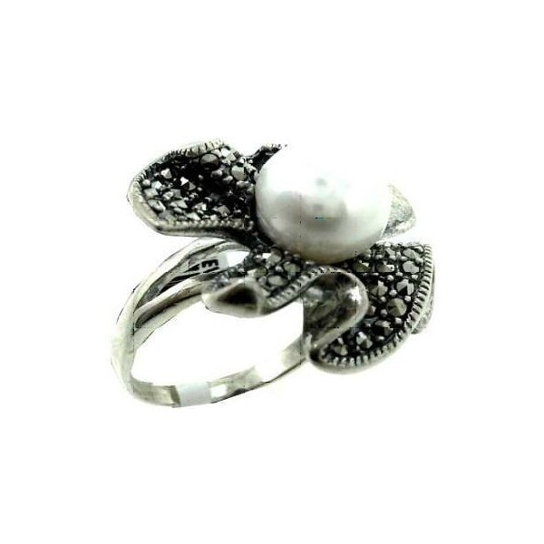Ring With Marcasite And Pearl Qrz36 Found On Polyvore