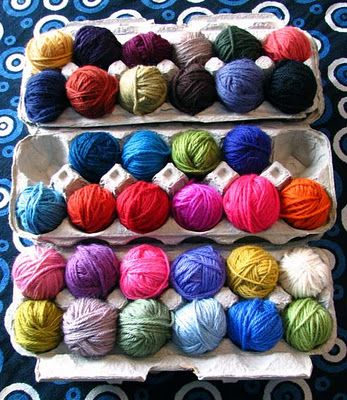 "So going to do this with my ""left over"" yarn. Also poke a small hole in lid to feed the yarn up through! Prob paint the carton too."