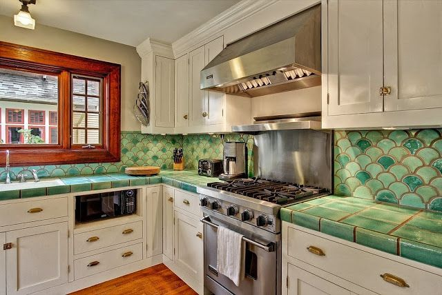 fish scale tile backsplash home decor pinterest