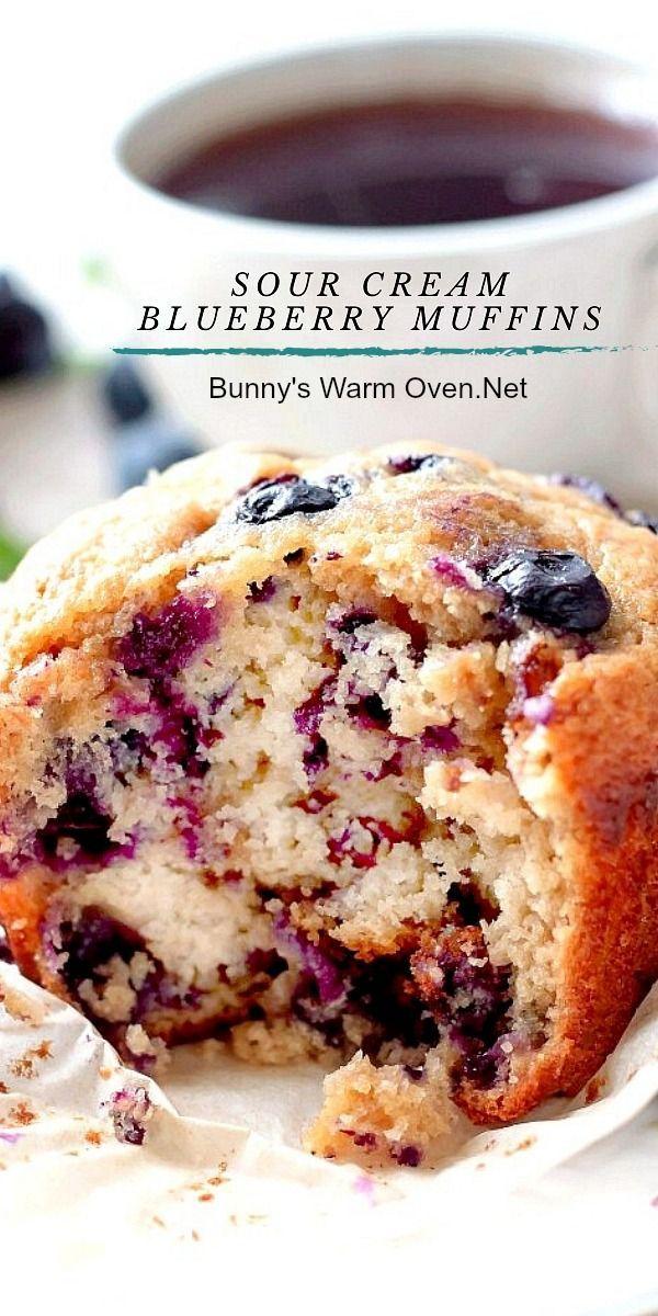 Sour Cream Blueberry Muffins In 2020 Sour Cream Blueberry Muffins Baking Recipes Blueberry Recipes