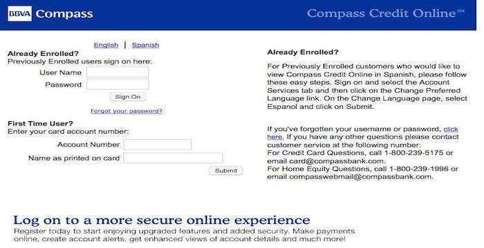 BBVA Compass Credit Card Login