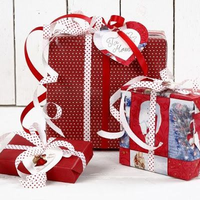Gift Wrapping, Red and White Inspiration