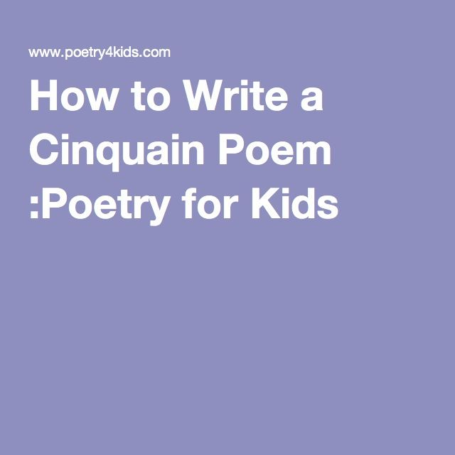 How To Write A Cinquain Poem :Poetry For Kids