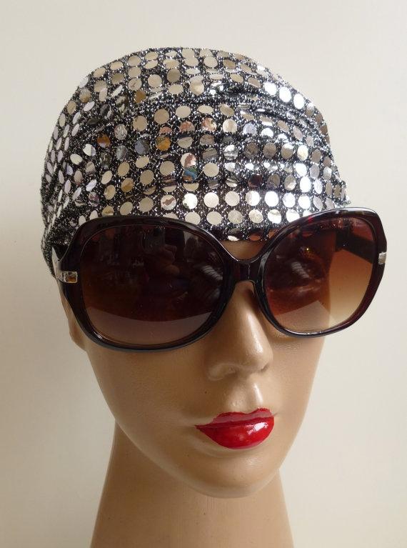 Head bandana Headband Silver glitter funky by ShawlsandtheCity, $12.00