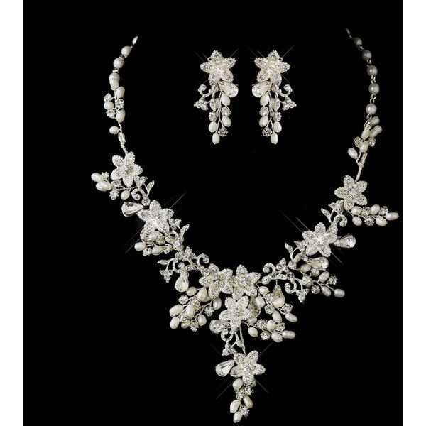 Glamorous Pearl Rhinestone Floral Bridal Jewelry Sets ❤ liked on Polyvore featuring jewelry