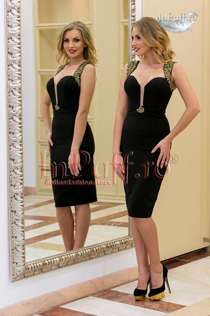 Rochie eleganta midi neagra cu aplicatie aurie