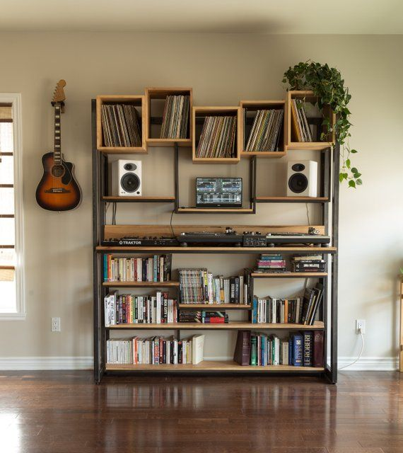 Library For Dj Turntable Control Vinyl Books Steel And Wood Made Entirely By Hand In Quebec Home Music Rooms Record Room Home