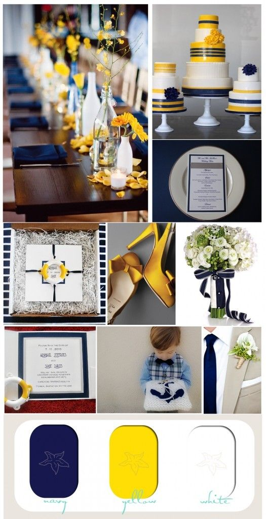 I prefer a softer yellow and would add gray to the list, but I like the colors.    Navy Blue Wedding Color Palettes