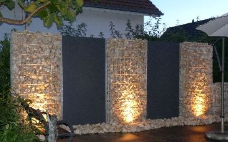 gabion fence with night lighting http://www.gabion1.com