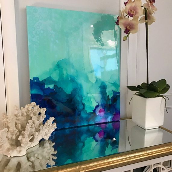 Abstract Painting Blue, Green, Fuchsia, Pastel, Ombre Resin Coat X