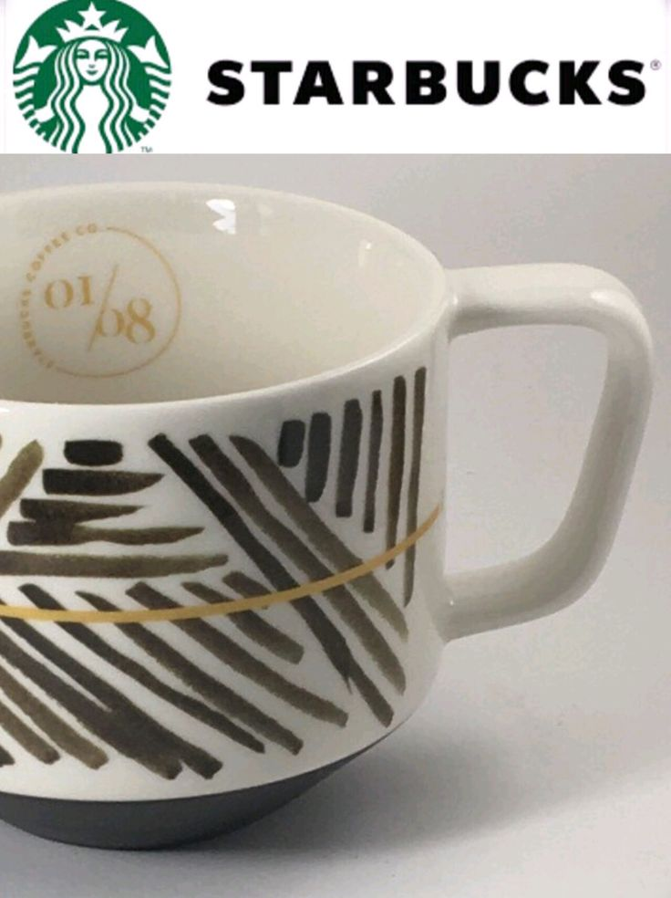 """Starbucks 2014 Coffee Mug Bone China white with Brown and gold high quality mug cup. #1 in series of 8 Mugs not yet released This line of mugs tells the story of the Coffee Process This mug is titled """"A Story of Origin-Geography of Coffee"""" 12 oz mug New without box or tag condition."""
