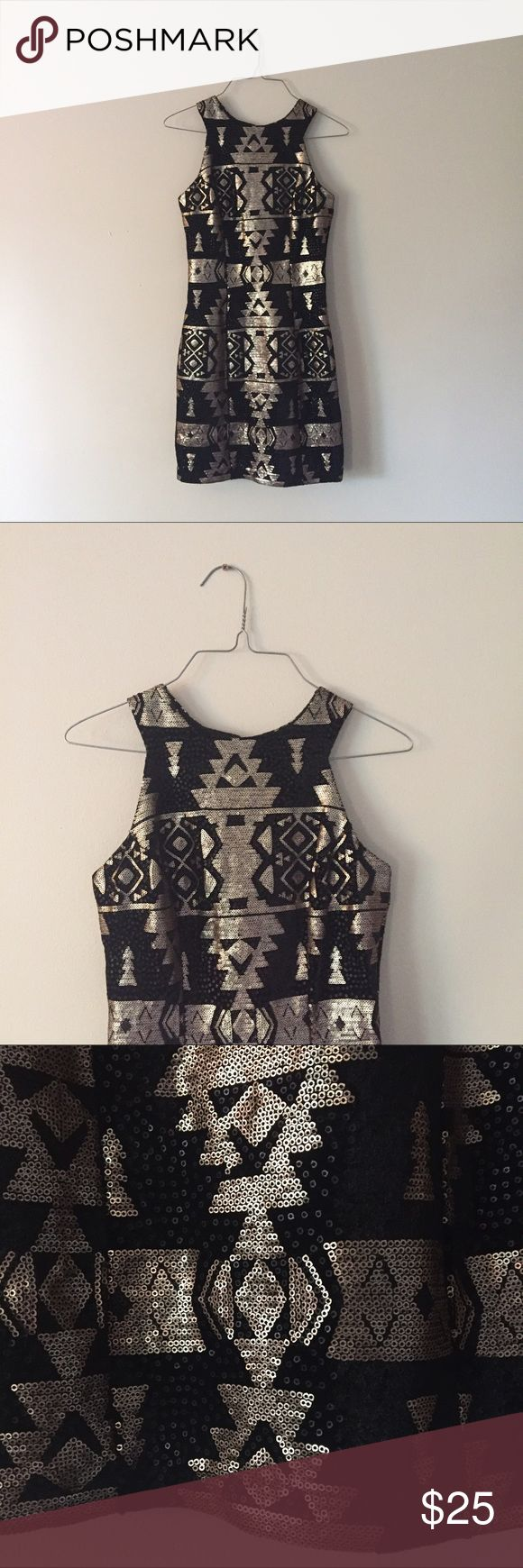 Beautiful aztec sequence high neck body con dress Beautiful and like new black and gold sequin aztec print high neck body con dress. Worn once to a work Christmas party, in perfect condition! Pair with your favorite heels for a girls night out or a date night with that special  someone Trixxi Dresses Mini