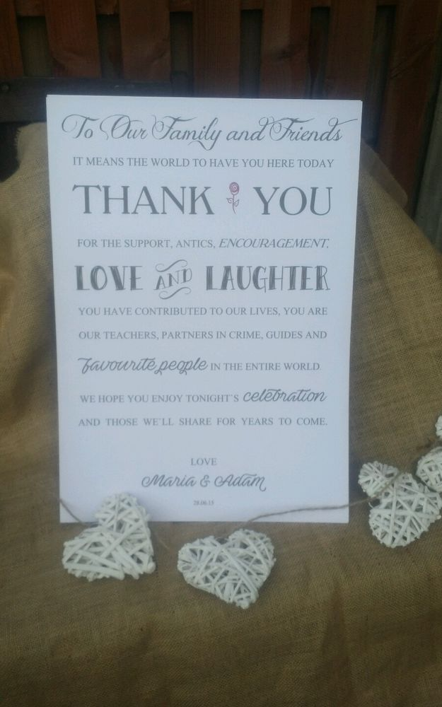 A3 Personalised WeddingReception Guest Thankyou Card Sign WHITE Various Fonts