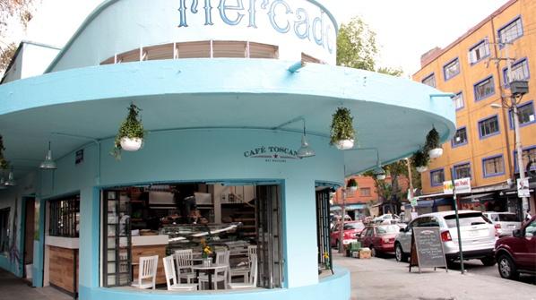 Café Toscano en el Mercado de la Condesa, Mexico City