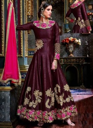 Purple Embroidery Work Georgette Viscose Designer Long Anarkali Gown Suit  www.angelnx.com/Salwar-Kameez