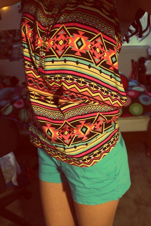 rad colors!Fashion, Summer Outfit, Style, Aztec Prints, Shorts, Tribal Prints, Summer Clothing, Bright Colors, Tribal Pattern