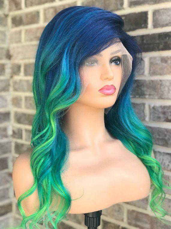 f2e5f7353 Full lace womens wig, navy blue, light blue, green hair, human hair wig,  130 density
