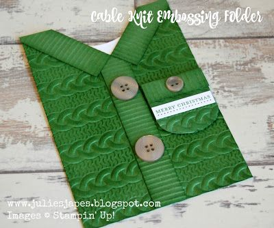 Julie Kettlewell - Stampin Up UK Independent Demonstrator - Order products 24/7: Cardigan Card with Cable Knit folder