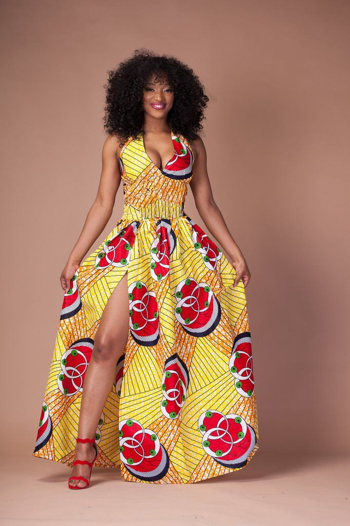 03afabdcae6a9 2016 Fashion Women African Dashiki Print Maxi Dress Long Summer Halter Sexy  V Neck Party Clubwear Dresses Split Yellow Vestido…