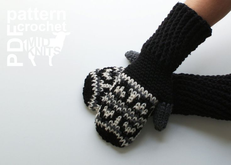 DIY Crochet PATTERN Fair Isle Crochet Hills Mittens by Midknits