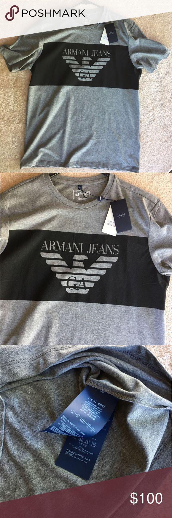 Armani Jeans T-shirt Grey cotton logo print T-shirt from Armani Jeans. Composition: Cotton 100% Washing Instructions: Machine Wash Armani Jeans Shirts Tees - Short Sleeve