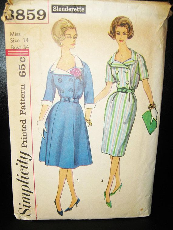 Simplicity Dress Pattern 3859 Size 14 Flared Or Pencil