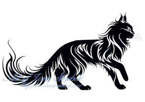 Walking Cat Tribal Tattoo II by Avestra
