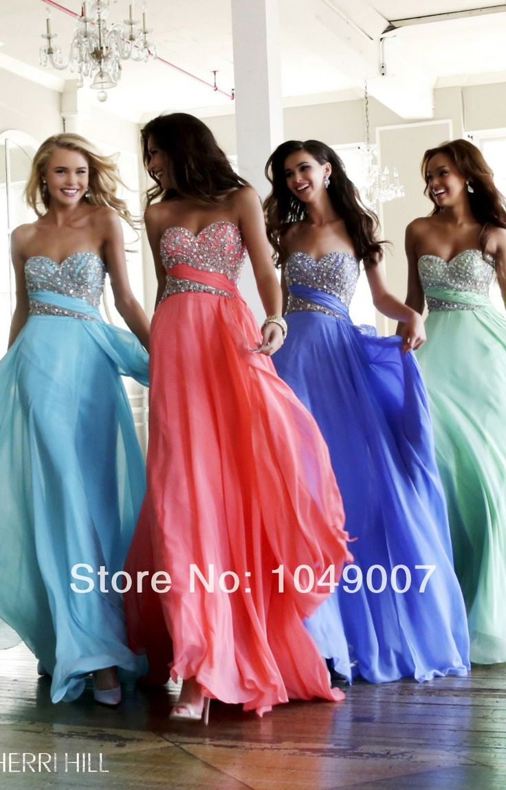 Sexy Sweetheart Beaded Chiffon A-Line Long Prom Dresses 2014 New Arrival Party Dress $139.00