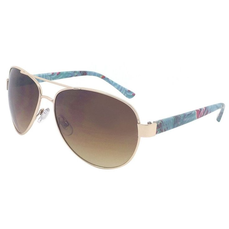 Women's Aviator Sunglasses - Gold Floral Frame with Brown Lenses, Light Gold