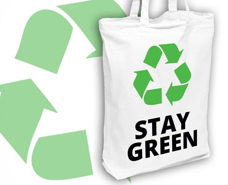 Bawełniana EKO torba na zakupy STAY GREEN biała