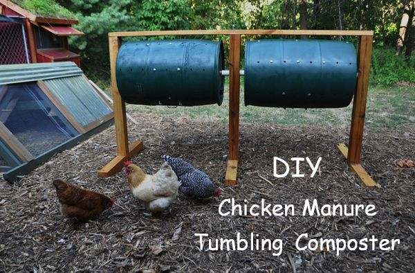 "DIY: Chicken Manure tumbler/composter..... I think you could make ""hand cranked chicken plucker"" using the same princple........"