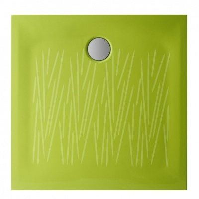Piatto doccia Filo cm. 90x90xh4 smaltato su tre lati con antiscivolo colore verde.    Rigoroso, essenziale, ultrasottile.