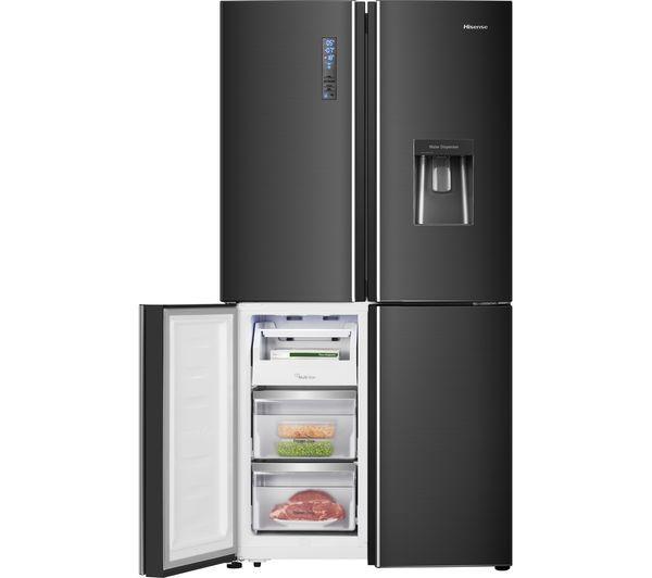 Hisense Rq689n4wf1 Fridge Freezer Black Steel Fridge Freezers Multi Door Fridge Black Steel