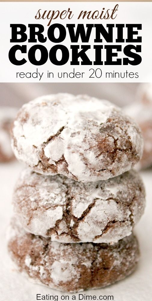 Brownie Cookies recipe that is ready in under 20 minutes!  I love to add powdered sugar to these cookies before I bake them because they come out of the oven looking so pretty. Dont you just love the crackled effect?