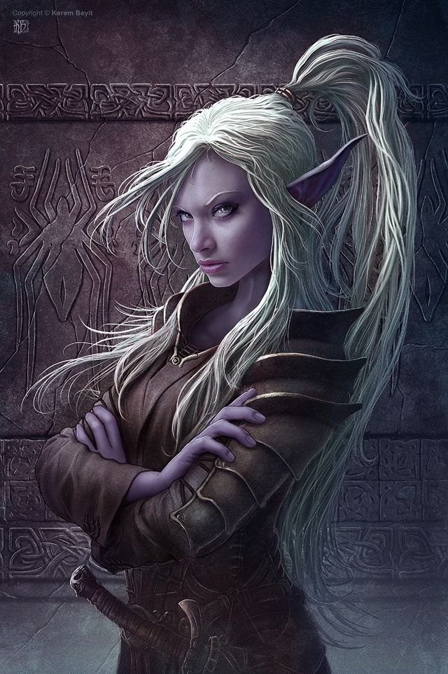 Female dark elf | drow in black leather armor. Her arms are crossed. She looks sassy.