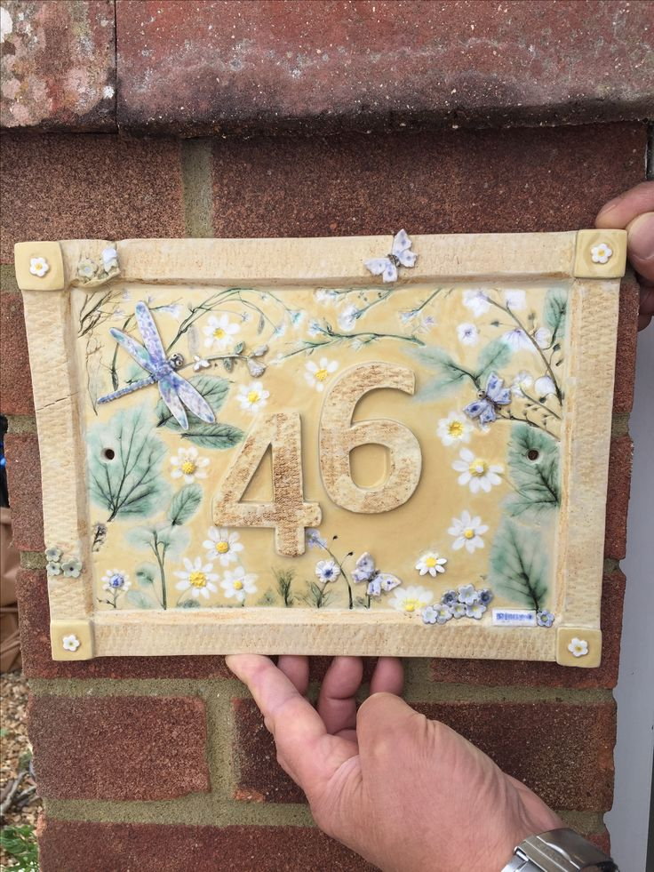 Bespoke ceramic house number plaques - hand made to order.