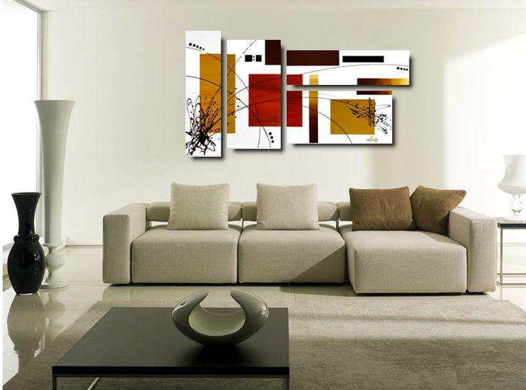Produzione Quadri moderni astratti - 100% dipinti a mano. 4 Quadri Moderni Astratti Toni del rosso, vengè, ocra, bianco e nero