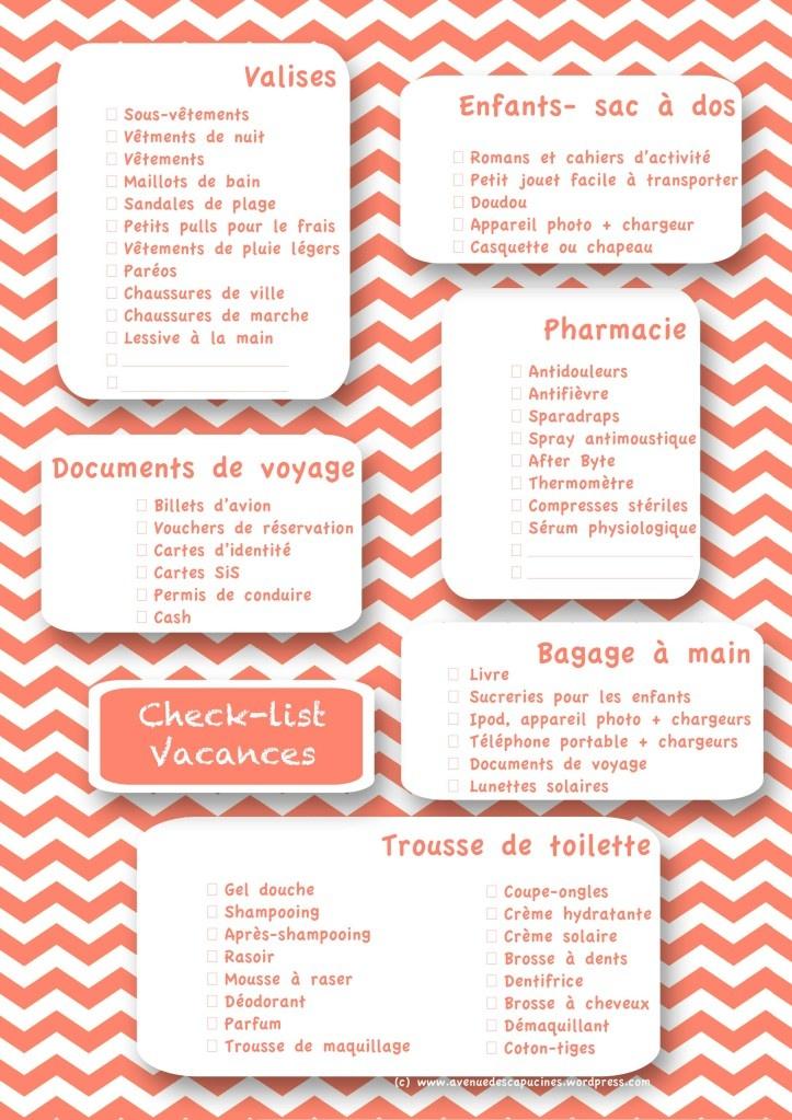 ORGANISATION : Printable duquel m'inspirer pour lister les choses à emporter en vacances/week-end, vu que je refais la même liste sur un bout de papier à chaque fois !