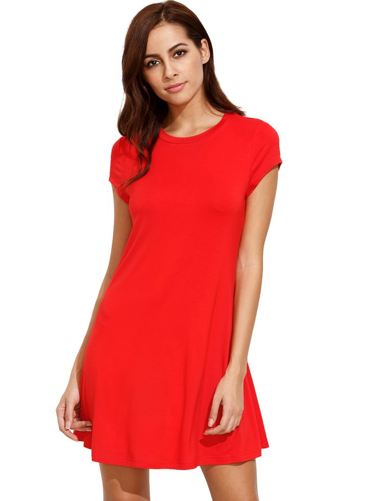 Buy it now. Red Short Sleeve Shirt Cut Swing Dress. Red Casual Rayon Round Neck Cap Sleeve A Line Short Plain Spring Summer Fall Dresses. , vestidoinformal, casual, camiseta, playeros, informales, túnica, estilocamiseta, camisola, vestidodealgodón, vestidosdealgodón, verano, informal, playa, playero, capa, capas, vestidobabydoll, camisole, túnica, shift, pleat, pleated, drape, t-shape, daisy, foldedshoulder, summer, loosefit, tunictop, swing, day, offtheshoulder, smock, print, printed, te...
