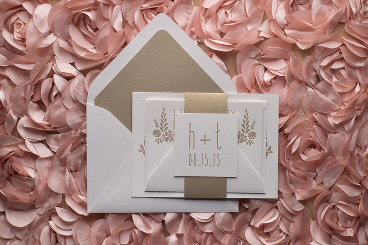 The Perfect White and Gold Romantic Letterpress Whimsical Wedding Invitation! | Hadley Suite, Letterpress, Warm Gold, Romantic, Floral Details, White and Gold, Wedding Invitations