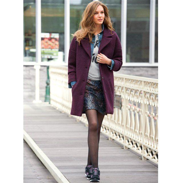 Novedades de otoño - Falda recta de algodón con lentejuelas bordadas