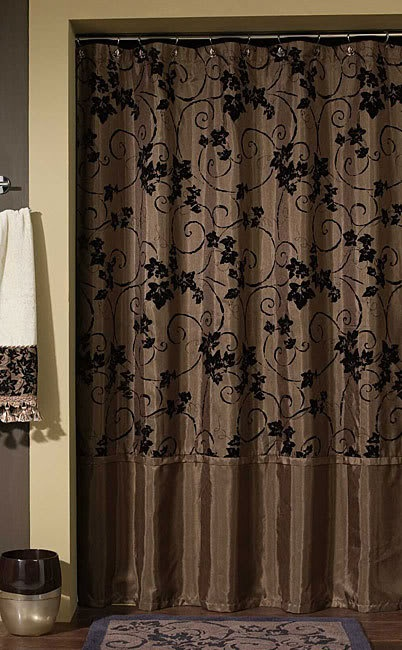 Glamorous, rich brown shower curtain