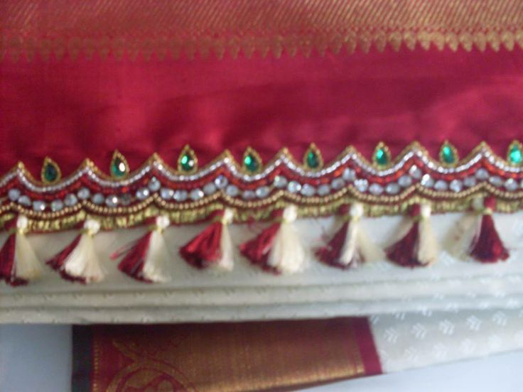 Silk saree pallu enriched with embroidery and kuchu ...
