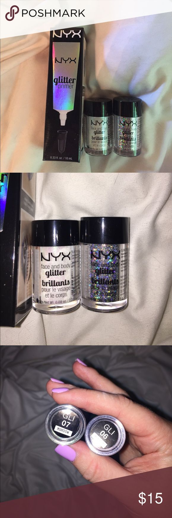 NYX Glitter NYX Cosmetics face and body glitters with primer. Extremely pigmented and bright glitter perfect for a statement. Both were only used once for prom. NYX Cosmetics Makeup