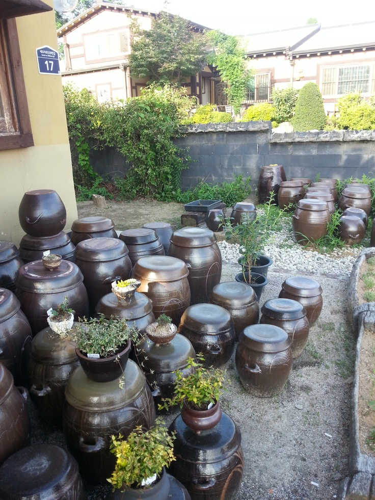 Korean traditional restaurant Mejuggot, this pots are for keeping our traditional sources.