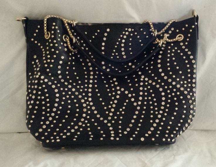 """AGTS"" Logo Diamantes and Studs Wave Design Handbag $80.00"
